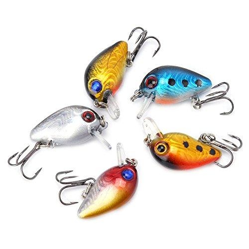 Zerone 5PCS Fishing Lures Large Hard Bait 3D Holographic Eyes Fishing Lures Floating Sinking Lure Micro Bass Bait Crankbait Treble Hook