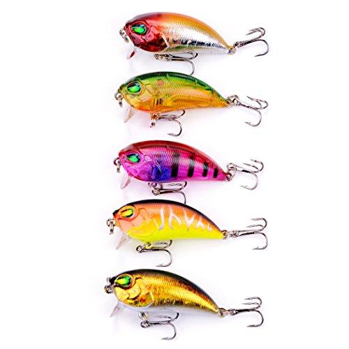 Aorace 5pcslot 8g48cm 3D Fishing Lures Saltwater Freshwater Crank Bait Hard Lure Baits Tackle Crankbaits Treble Hooks