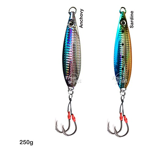 2pcs 250g Fish WOW Fishing Flat Fall Vertical Trolling Jig with two Assist Hooks - 2 colors