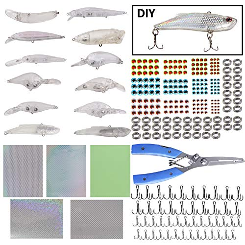 Unpainted Crankbaits Blank Fishing Minnow Lure Kit - 291Pcs Fishing Pliers ScissorsTreble HooksFishing Split RingsFishing Lure Sticker 3D Eyes DIY Fishing Tackle