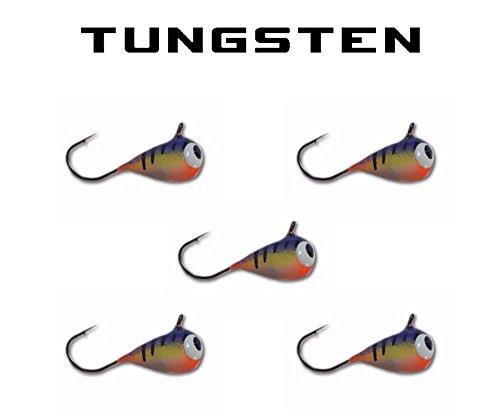 5 pack Tungsten Jig - PURPLE CLOWN UV GLOW 5mm - 12 Hook