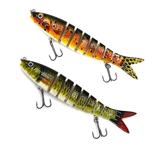 Threemart 58-Ounce 5-Inch 8 Segment Swimbait Lures Crankbaits Baits Hard Bait Fishing Lures 5Yellow B  Green B2pc
