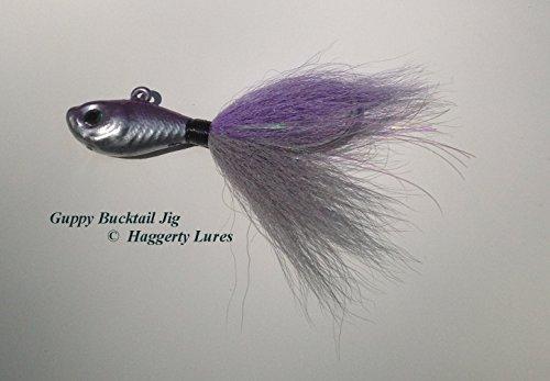 Bucktail Jig-Guppy Minnow Fish-Striper Fluke Flounder - Chrome Lavender Alewife 5 oz