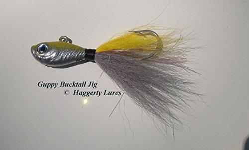 Bucktail Jig-Guppy Minnow Fish-Striper Fluke Flounder - Chrome Yellow 5 oz