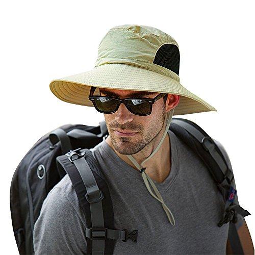 Mens Wide Brim Sun Hat Waterproof Sun Protection Bucket Hat Boonie Safari Cap for Summer Outdoor Fishing Hunting Desert Hawaiian Khaki