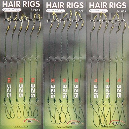 Shaddock Fishing 18pcs Carp Fishing Hair Rigs Green Coated Braided Thread Loop 8245 Curve Shank Hook Boilies Carp Rigs Carp Fishing Accessories