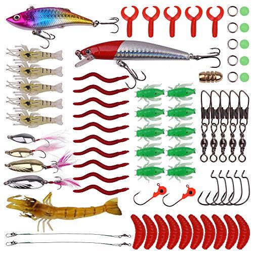 Fishpeak Fishing Lures Kit Fishing Baits Tackle - Crankbaits Spinnerbaits Fishing Spoons Rooster Tail Swimbaits Rubber Worms Jigs Fishing Hooks - Saltwater Freshwater Fishing
