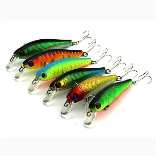 LEERYA 6pcs Fishing Lures Colorful 3D Fish Eyes Hard baits