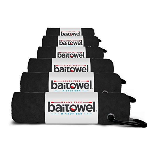 Fishings Best Microfiber Bait Towel 6 Pack Midnight Black 16 X 16 with Carabiner Clip