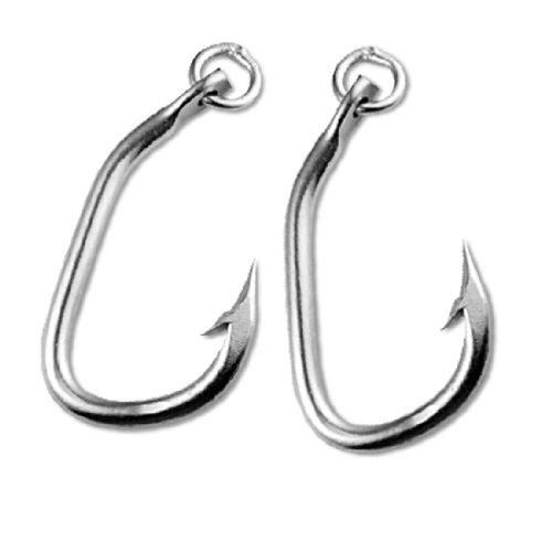 Pair Stainless Steel Fishing Fishhook Saltwater Ringed Tuna Fish Hooks 42