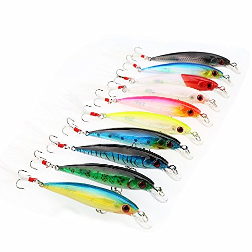 A-SZCXTOP 10pcs Minnow Fishing Lures Baits Plastic Hard Lures Bass Crankbait Feature Hooks Life-like Swimbait 7g 9cm