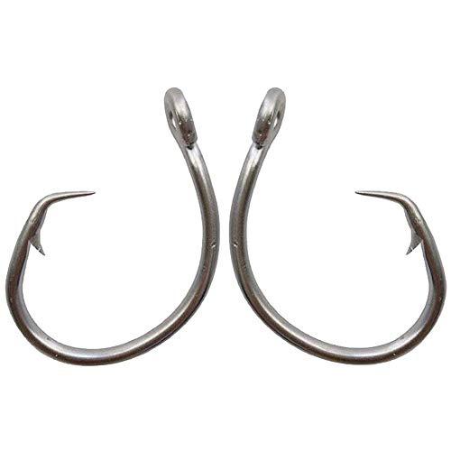 AGOOL Tuna Circle Hooks - Saltwater Fishing Hooks Stainless Steel Fishing Hooks 2X Strong Big Game Hooks Short Shank Circle Hook 20pcsPack Size 10-110