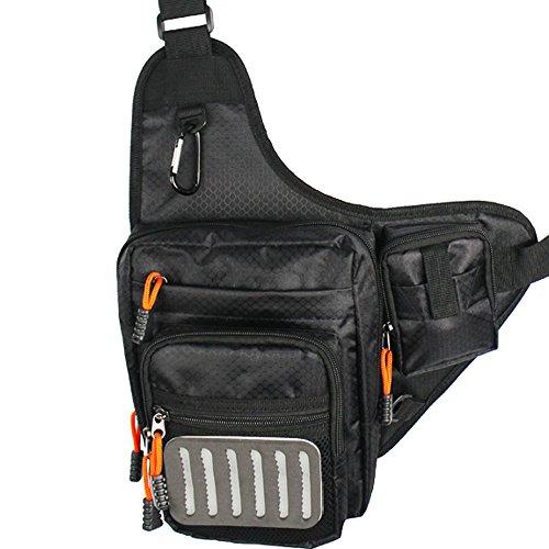 KyleBooker V Cross Fly Fishing Bag Multi Function Fly Fishing Waist Bag Pack Fishing Sling Bag with Fly Patch