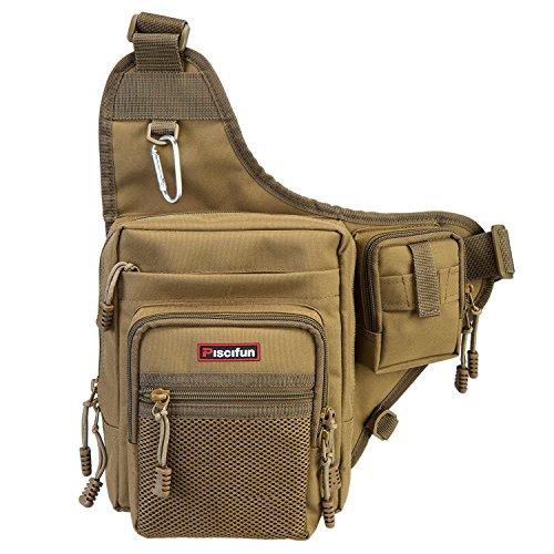 Piscifun Sports Shoulder Bag Fishing Tackle Bag Crossbody Messenger Sling Bags Khaki