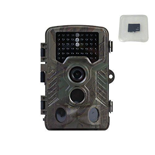 Trail Game Camera 16MP 1080P 120°PIR Sensor Wildlife Hunting Camera 65ft Infrared Night Version 46pcs LEDs 02s Trigger Time IP56 Waterproof 16GB Memory Card Trail Camera and Memory Card
