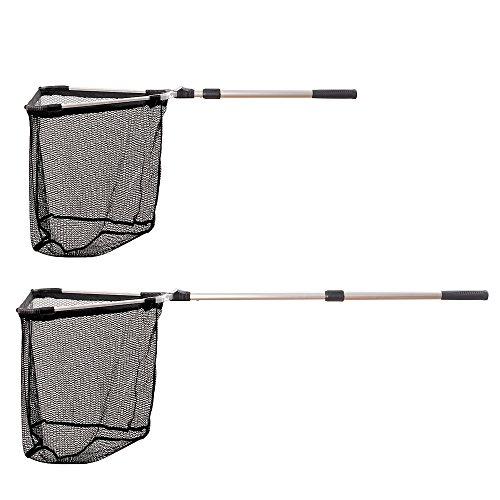 Fiblink Folding Telescoping Aluminum Fishing Landing Net with 2 Section Extending Pole Handle Extend Length 35-48
