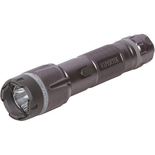 VIPERTEK VTS-T03 - Aluminum Series 999000000 Heavy Duty Stun Gun - Rechargeable with LED Tactical Flashlight Gunmetal Gray