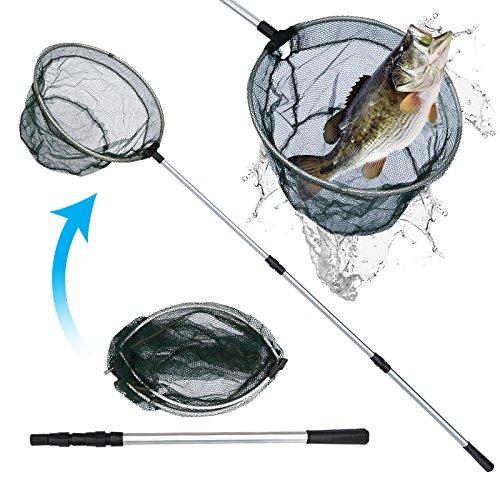 BenefitUSA Folding Aluminum Fishing Landing Net 3 Section Extending Telescopic Pole Handle