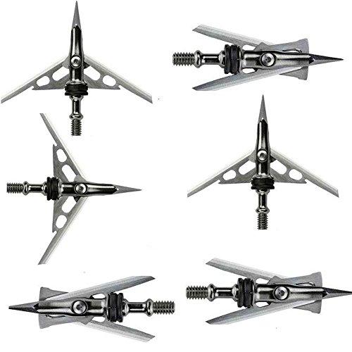 MoKasi 6pcs 2 Blade 100 Grain Archery Broadheads Screw-In Arrow Heads Tips Official SlipCam Hypodermic Broadhead