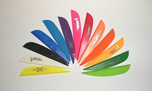 VaneTec V-Maxx Plastic Arrow Vanes 25 White wLogo Pkg100