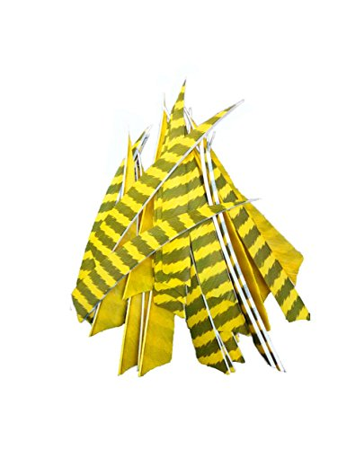 24pcs Archery 5 Arrow Turkey Feather Fletching Fletches Yellow Stripe Right Wing Flething Shield