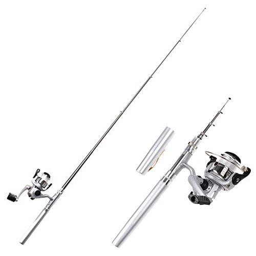 HDE Mini Collapsible Aluminum Pocket Pen Style Fishing Combo Rod Bait Cast Spinning Reel