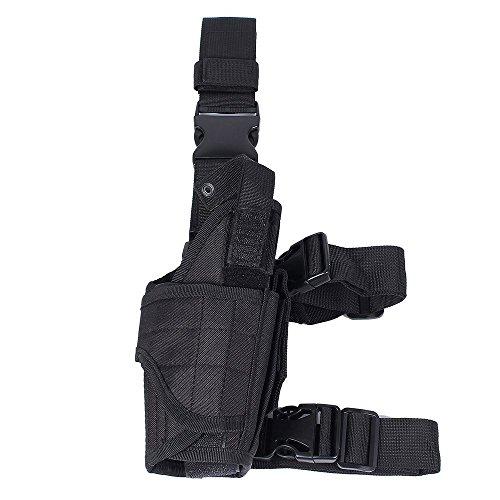 WElinks Adjustable Left Handed Tactical Drop Leg Thigh Gun Pistol Holster Pouch Black