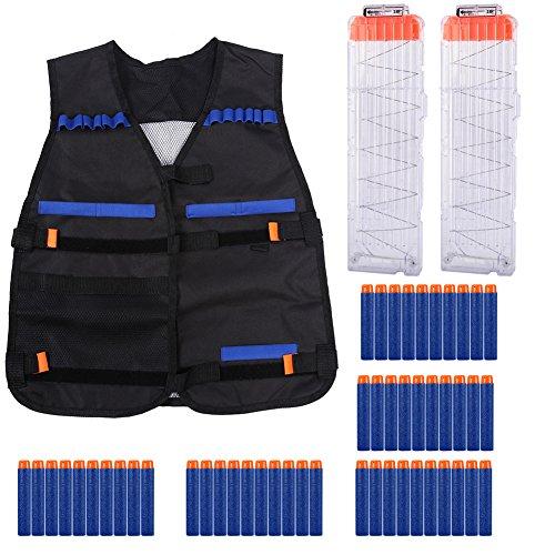 Nixikoo Adjustable Elite Tactical Vest and 2Pcs 18-Darts Magazine Quick Reload Clip and 50Pcs Blue Soft Foam Darts for Nerf N-Strike Elite Blaster Black VestTransparent Clip