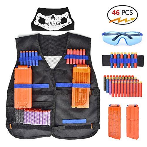 Walsilk Children Kids Tactical Vest Kit for Nerf Guns N-Strike Elite SeriesAdjustable Elite Tactical Vest Jacket KitPerfect Gift for Kid Toy Play or Other Outdoor Activities
