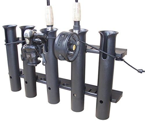 Brocraft 5 Pole Fishing Rod Holder ---- Bungee Secure Holds Down Fishing Poles