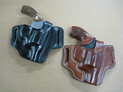 Leather 2 Slot Molded Thumb Break Pancake Leather Revolver Holster for S&W L Frame 4 Barrel Revolver TAN