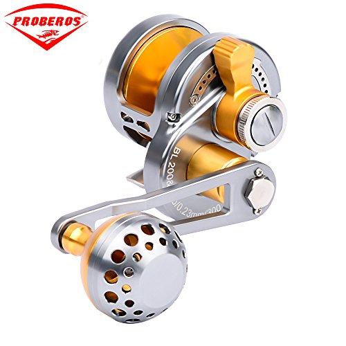 Proberos Trolling Reel Jig Fishing Reels Heavy Duty Sea Ocean Big Offshore Fishing Reel For Trout Bass Aluminum CNC Machined Max Drag Power 30lb&35lb&42lb&46lb200 left