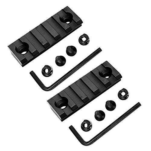 HooGou 2 Pcs 5 Slot 2 Picatinny Weaver Rail Section for Keymod Handguard Mount Rail System Black 5 Slots  2 Pack