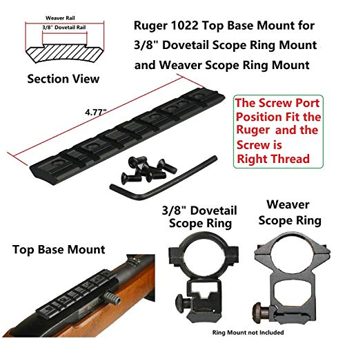GOTICAL Ruger 1022 Weaver and 38 Dovetail Mount Dovetail Predrilled Receiver Rail Mount Adapter