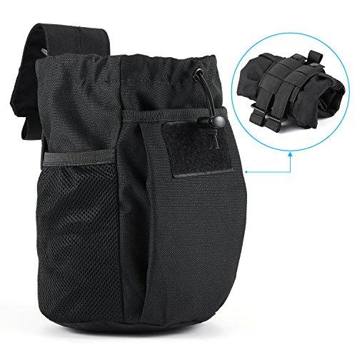 Tactical MOLLE Magazine Dump Pouch Barbarians Drawstring Folding Dump Bag for bottles umbrellas snacks etcBlack