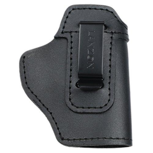 LANZON Leather IWB Holster  Fits Glock 17 19 22 23 32 33 36 43 S&W M&P Shield Springfield XD-S Kel-Tec PF-9 Beretta 92FS Sig Sauer P228 and All Similar Firearms