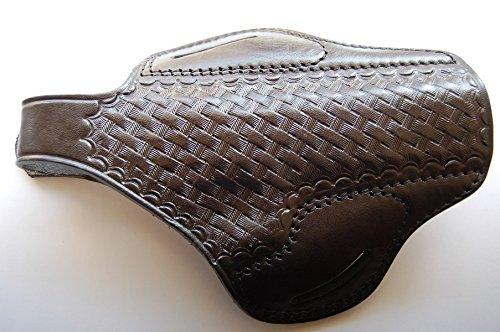 Cal38C45 Colt 1911 45 ACP Leather Handcrafted Belt Basket Weave Holster Tan Black BLACK