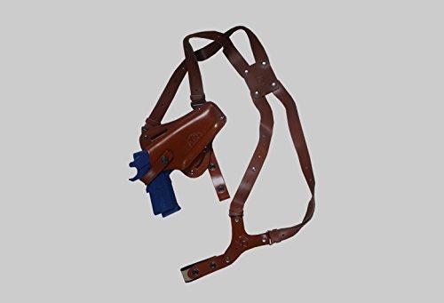 K445-911 Leather Vertical- Horizontal Shoulder Belt Holster RH Fits Colt Ruger Springfield Taurus 1911 3in1 Free Extension For Big Body Size BROWN