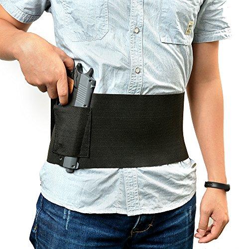 Agptek Adjustable Tactical Elastic Belly Band Waist Pistol Gun Holster 2 Magazine Pouches - Abdominal Band Pistol Holster Black