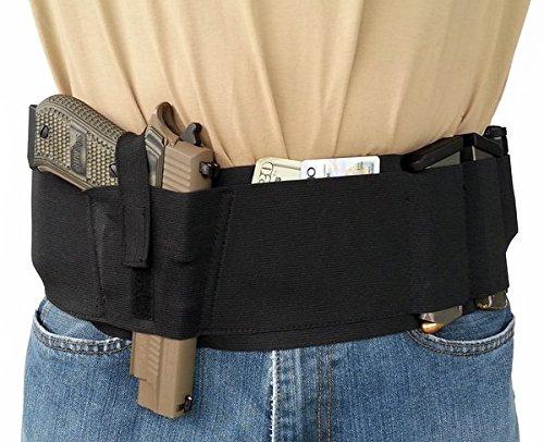 Hidden Heat 5 - Large 40- 44 Elastic Belly Band Gun Holster - Black