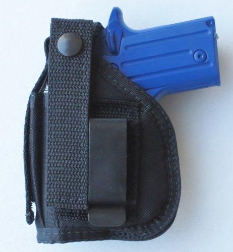 Hip Belt Clip Holster for Sig Sauer P238 Pistol with Underbarrel Laser Mounted on Gun