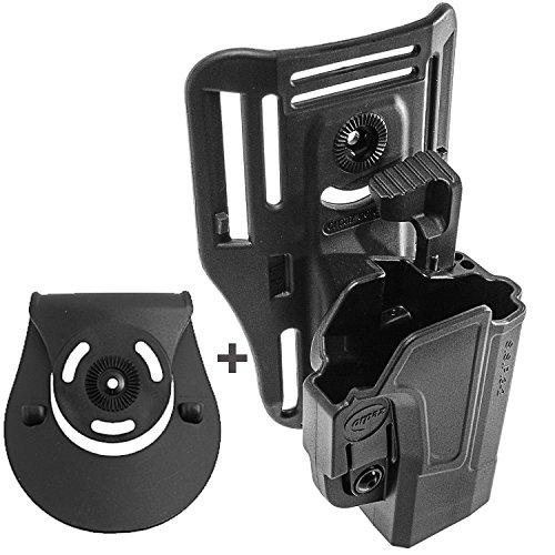 Orpaz Glock Low-Ride Belt Vest Level 2 Gun Holster Thumb Release 360 Rotation Tension Adjustment Polymer Holster