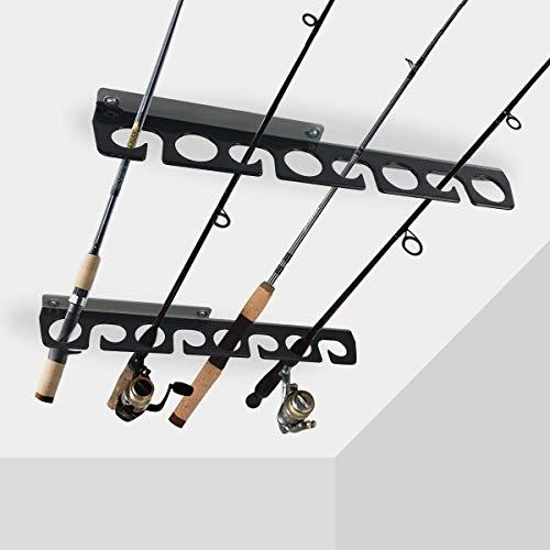 Homydom Fishing Rod CeilingWall Storage Rack Fishing Pole Holder for Garage Cabin Basement Heavy Duty - Holds up to 8 Fishing Rods