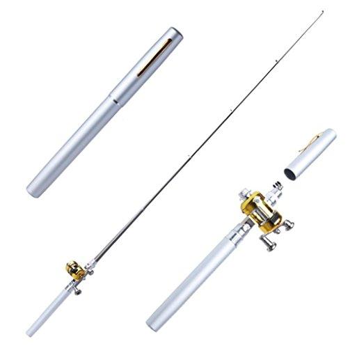 Iuhan Fashion Portable Mini Telescopic Pocket Fish Pen Aluminum Alloy Fishing Rod Pole  Reel