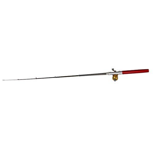 Mini Pocket Fish Pen Fishing Rod Pole w Baitcasting Reel Red