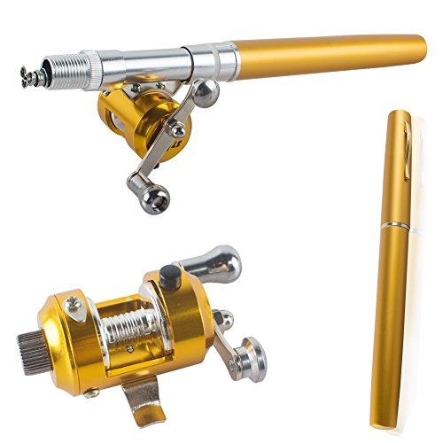 Pevor Mini Portable Pocket Fish Pen Shape Aluminum Alloy Pole Reel Fishing Rod Gold