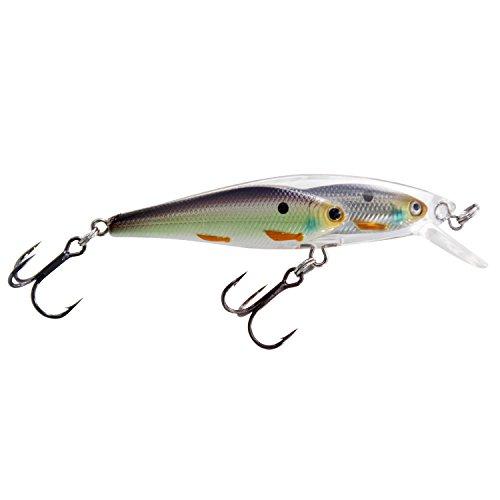 Blue Twist 8cm 2 in 1 Fishing Bass Bait Lures Diving Crankbait Minnow Treble Hook Lure light grey