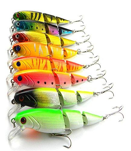 QTMY 8pcs Hard Fishing Bass Lures Diving Crankbait Minnow Treble Hooks 14g 105cm