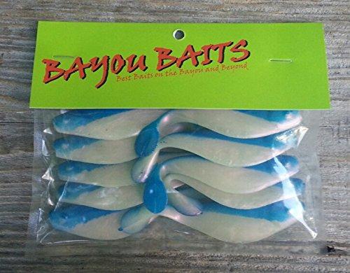 Bayou Baits 4 Sassy Shad 10 Pack Pearl WBlue Back
