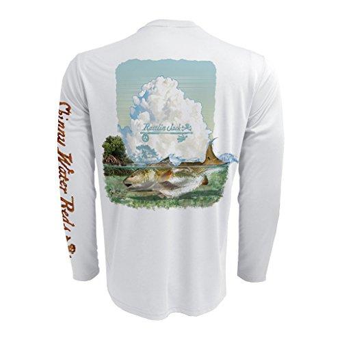 Rattlin Jack Mens UPF 50 Fishing Redfish Performance Long Sleeve 3XL White